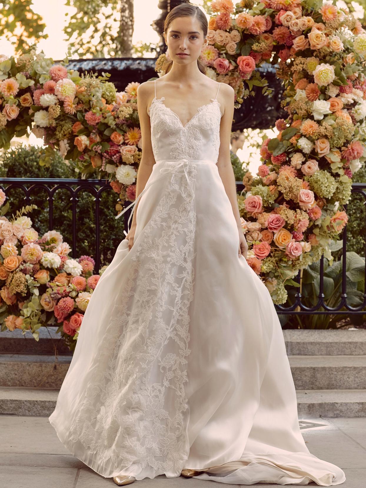 lela rose embroidered spaghetti strap v-neck wedding dress fall 2020
