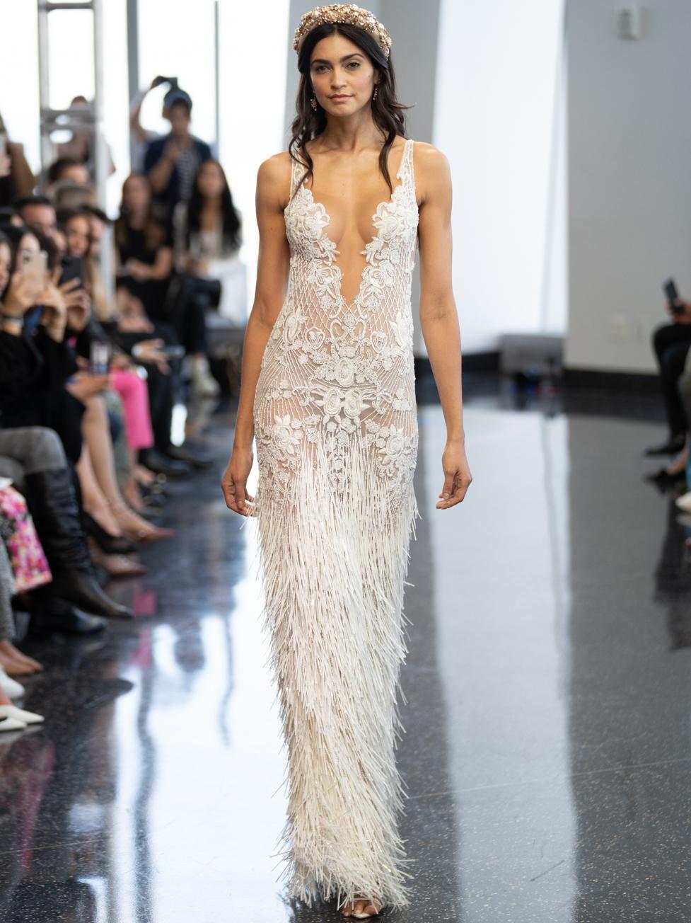 berta plunging neck sheath wedding dress fall 2020