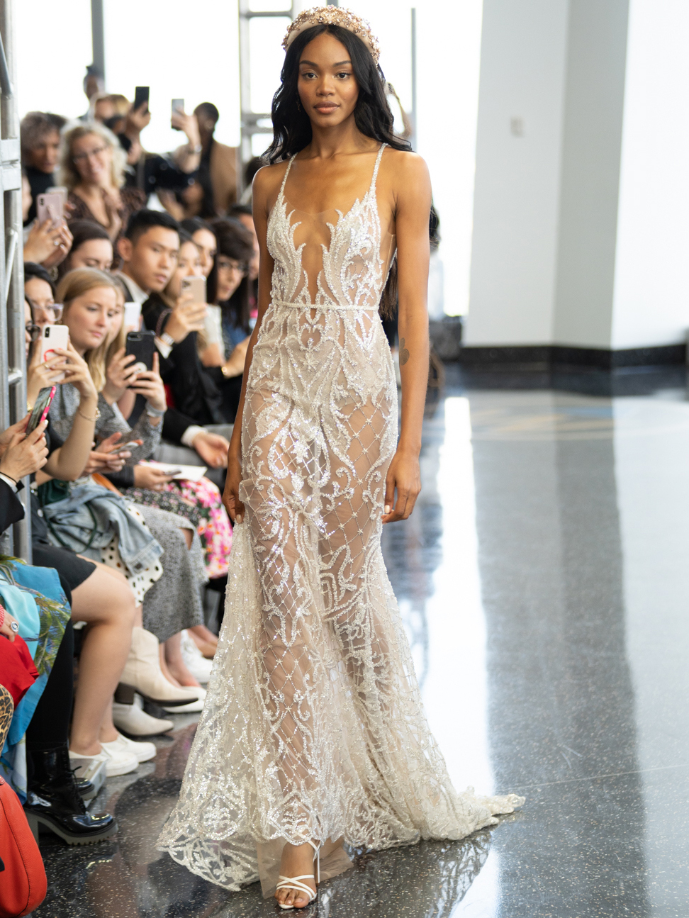 berta plunging neck sheer lace wedding dress fall 2020