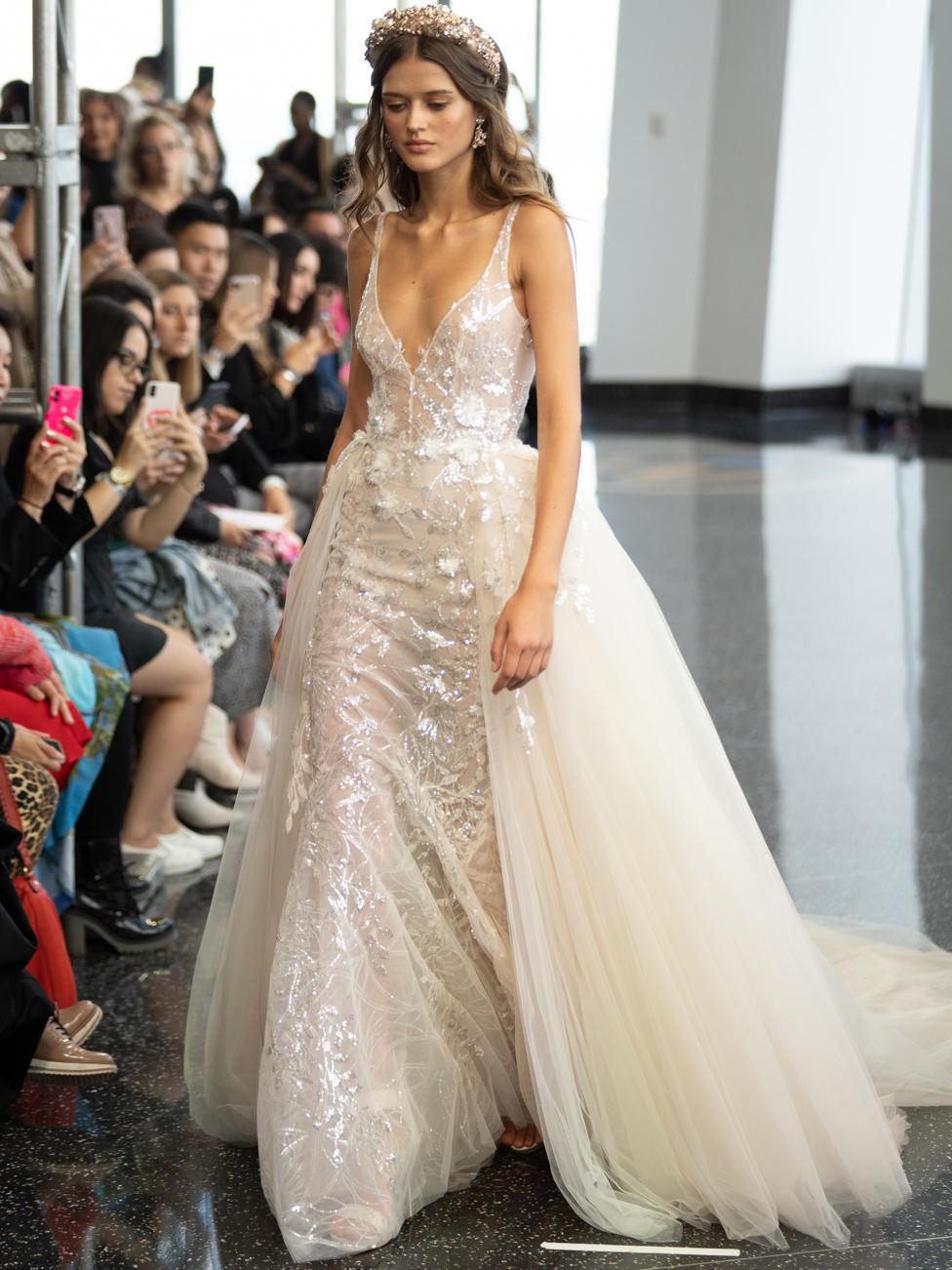 berta v neck sheer shiny lace wedding dress fall 2020
