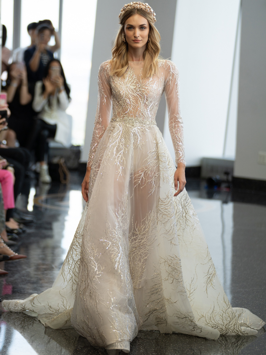 berta illusion high neck long sleeve a line wedding dress fall 2020