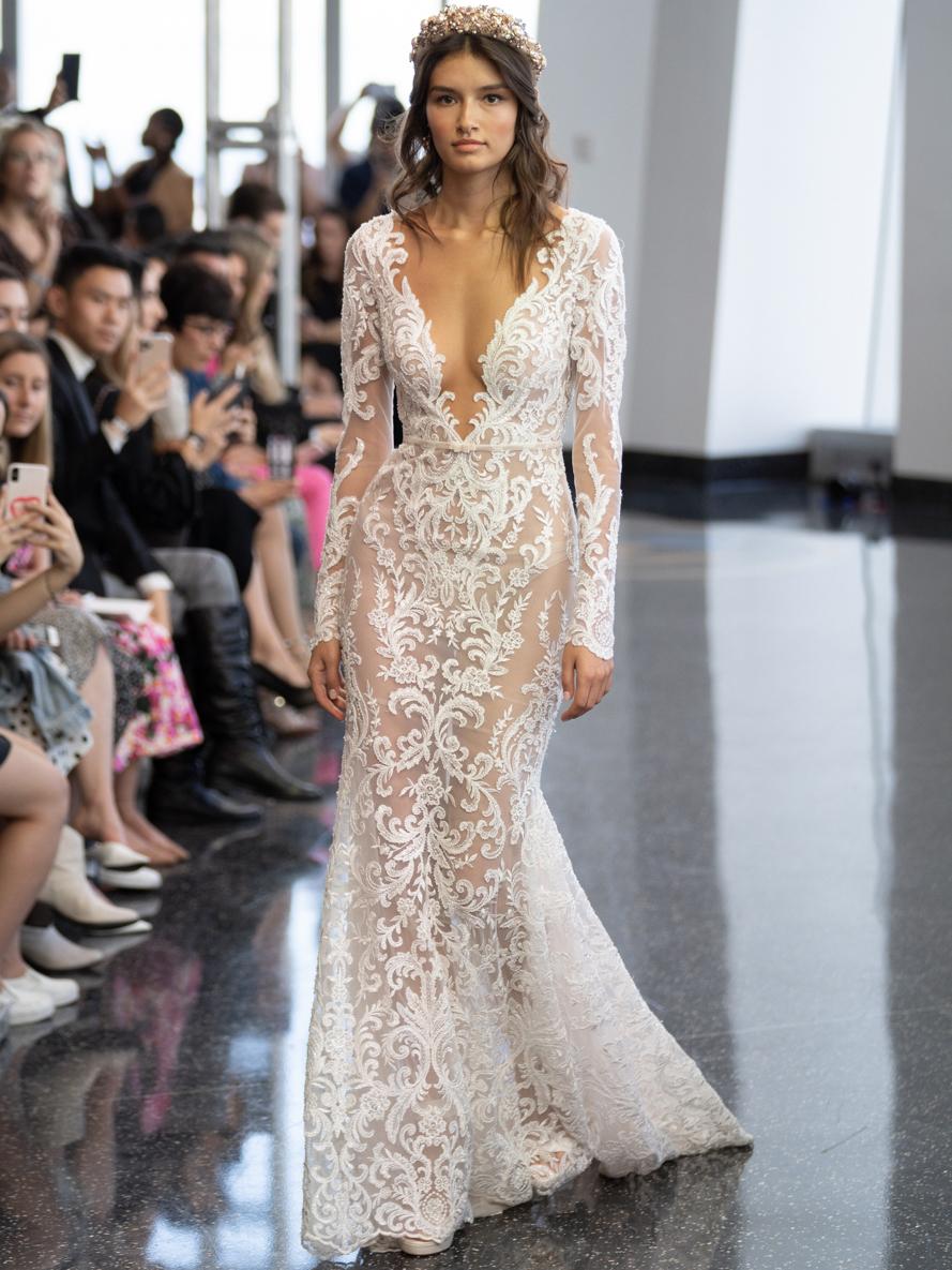 berta plunging neck lace wedding dress fall 2020