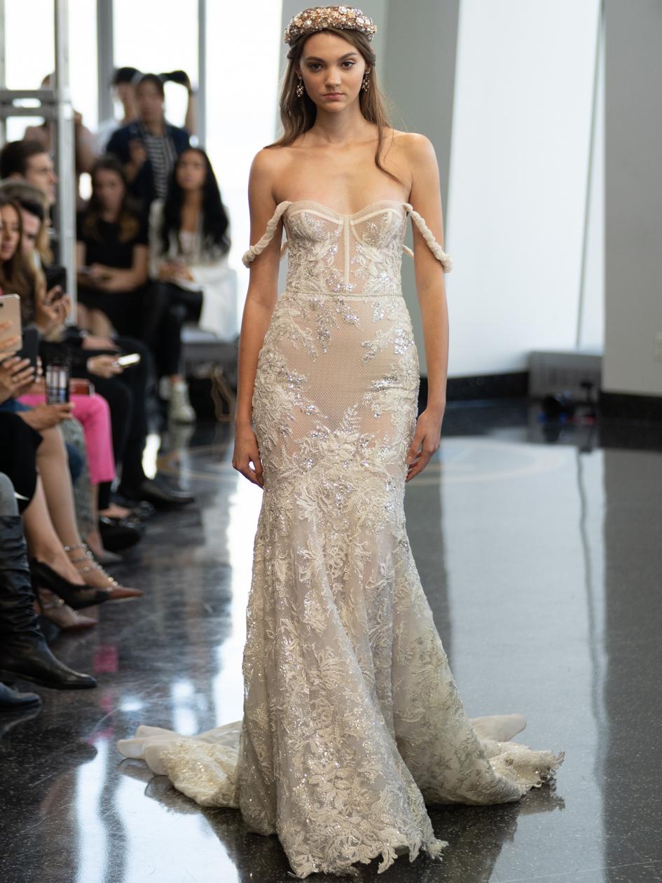 berta exposed boning sheer lace wedding dress fall 2020