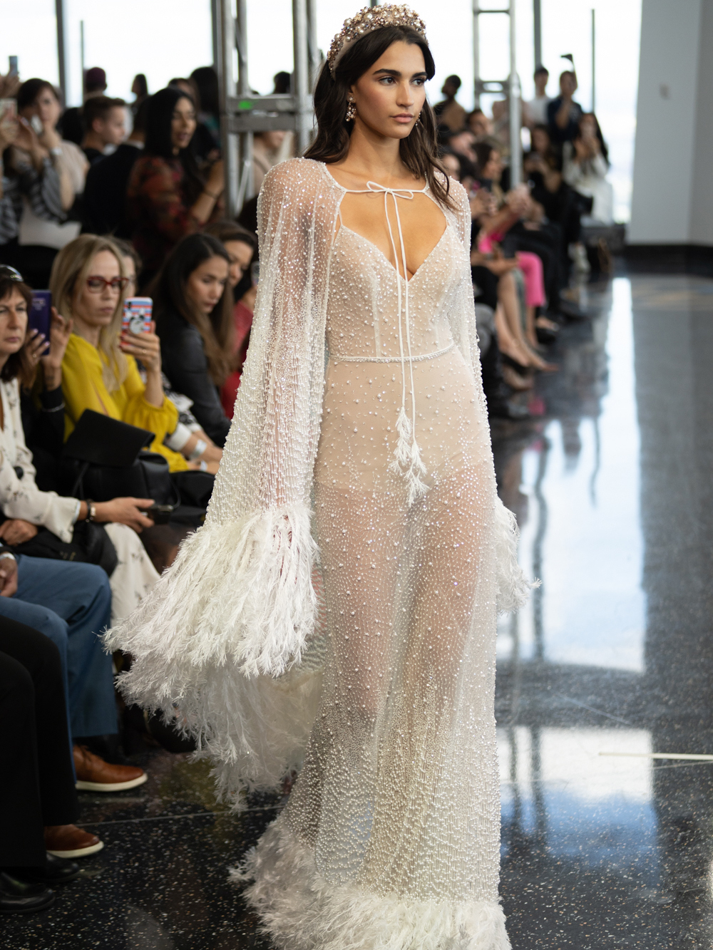 berta sheer feathers cape wedding dress fall 2020