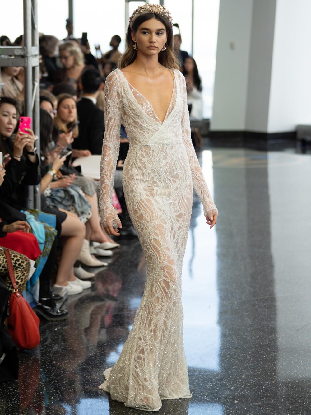 berta v neck long sleeve mermaid wedding dress fall 2020