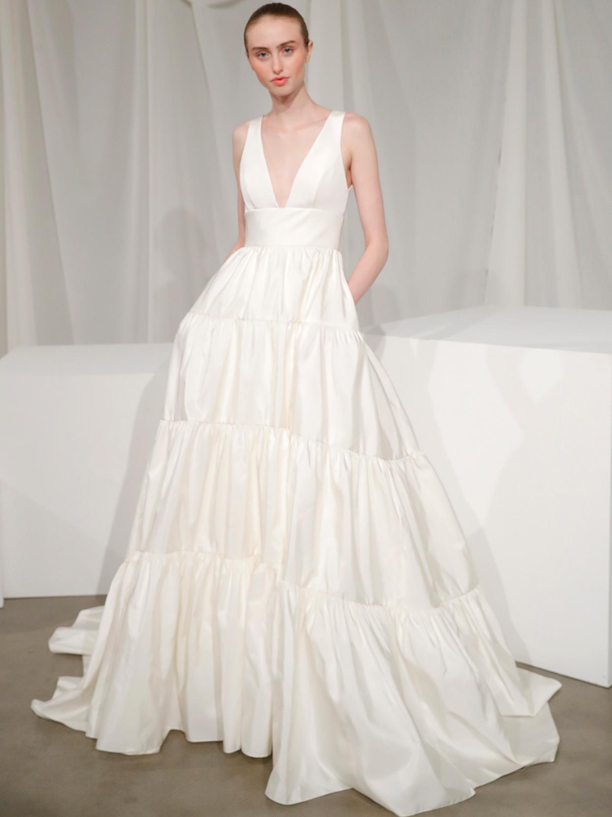 amsale v neck ruffled wedding dress fall 2020