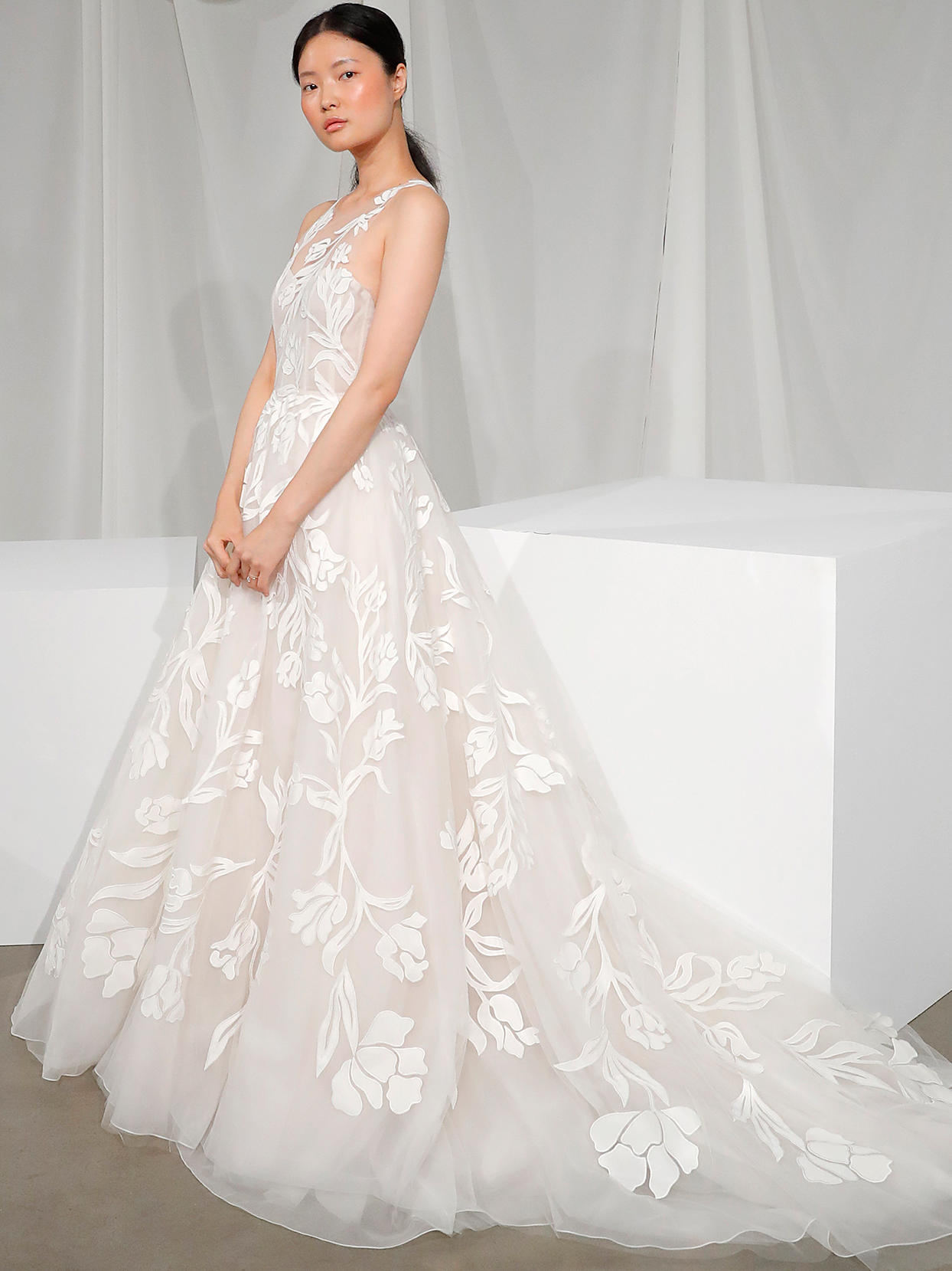 amsale illusion high neck floral overlay wedding dress fall 2020