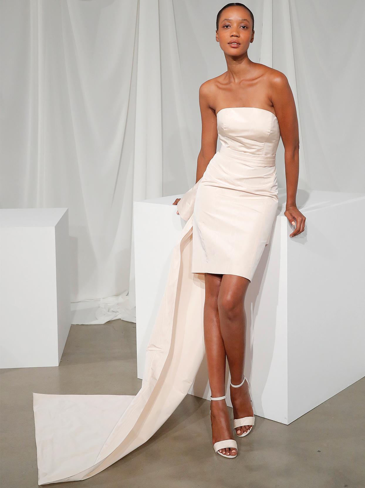 amsale strapless short wedding dress fall 2020