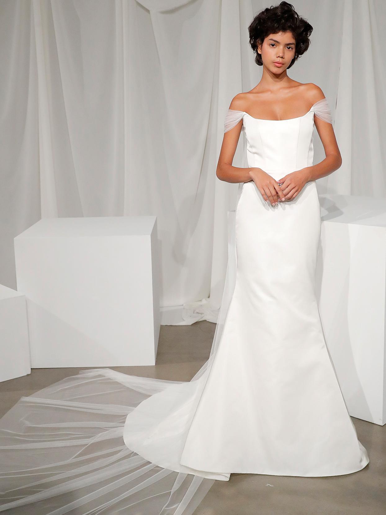 amsale off the shoulder trumpet wedding dress fall 2020