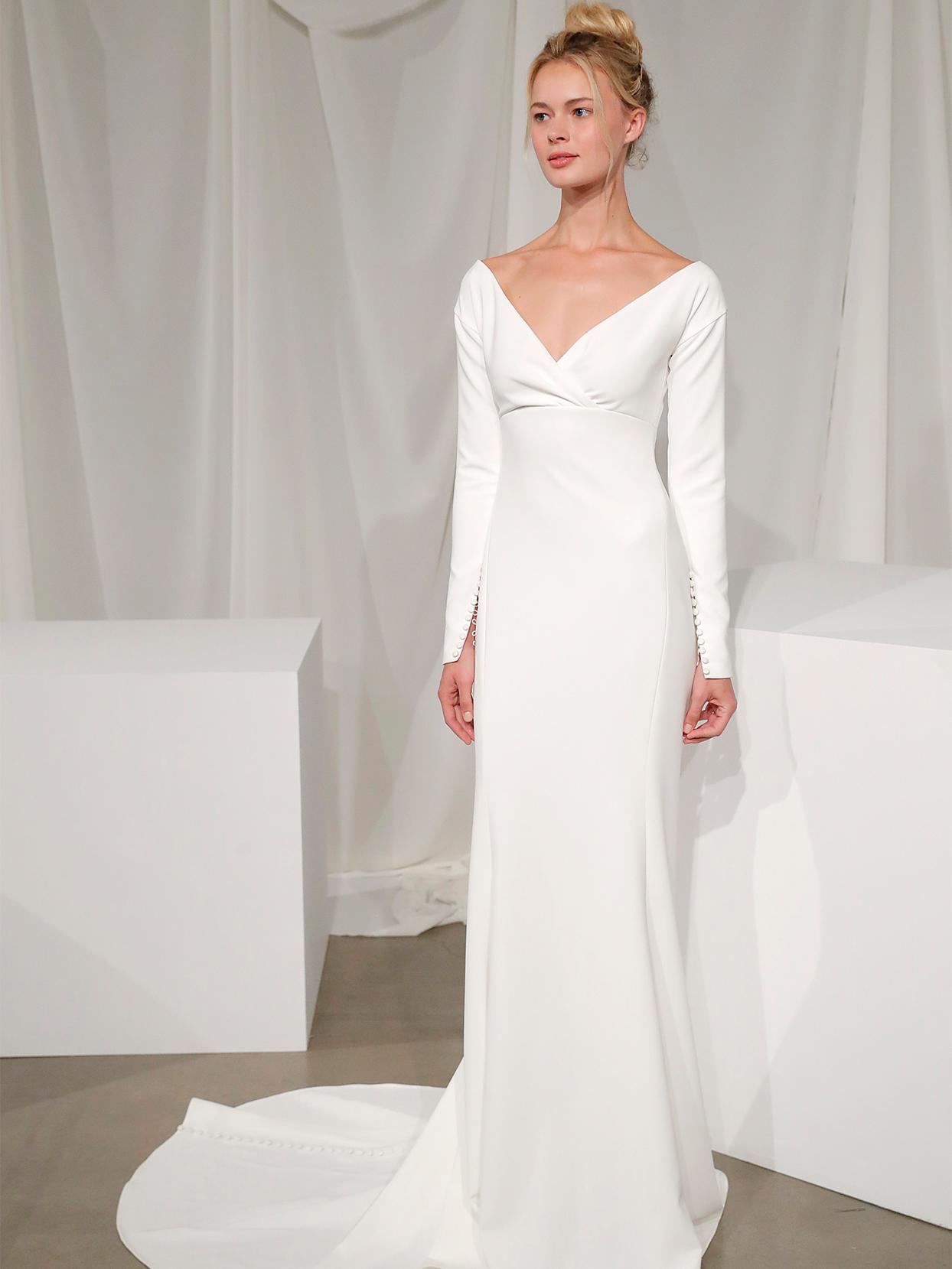 amsale long sleeve v neck wedding dress fall 2020