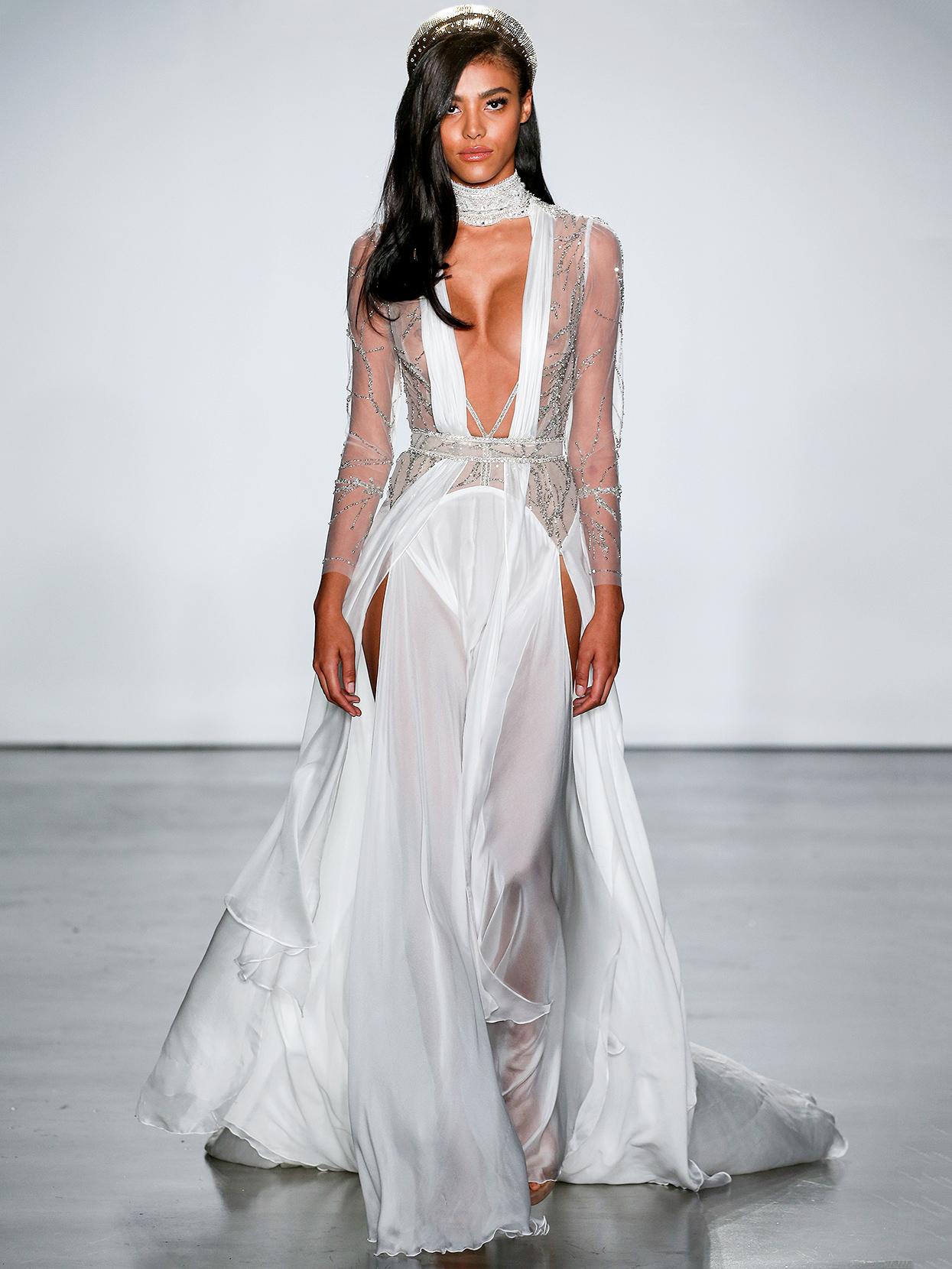 Inbal Dror layered long-sleeved plunging neck wedding dress fall 2020