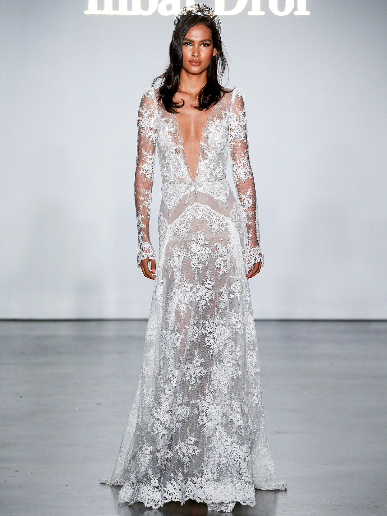 Inbal Dror long-sleeved sheer lace wedding dress fall 2020