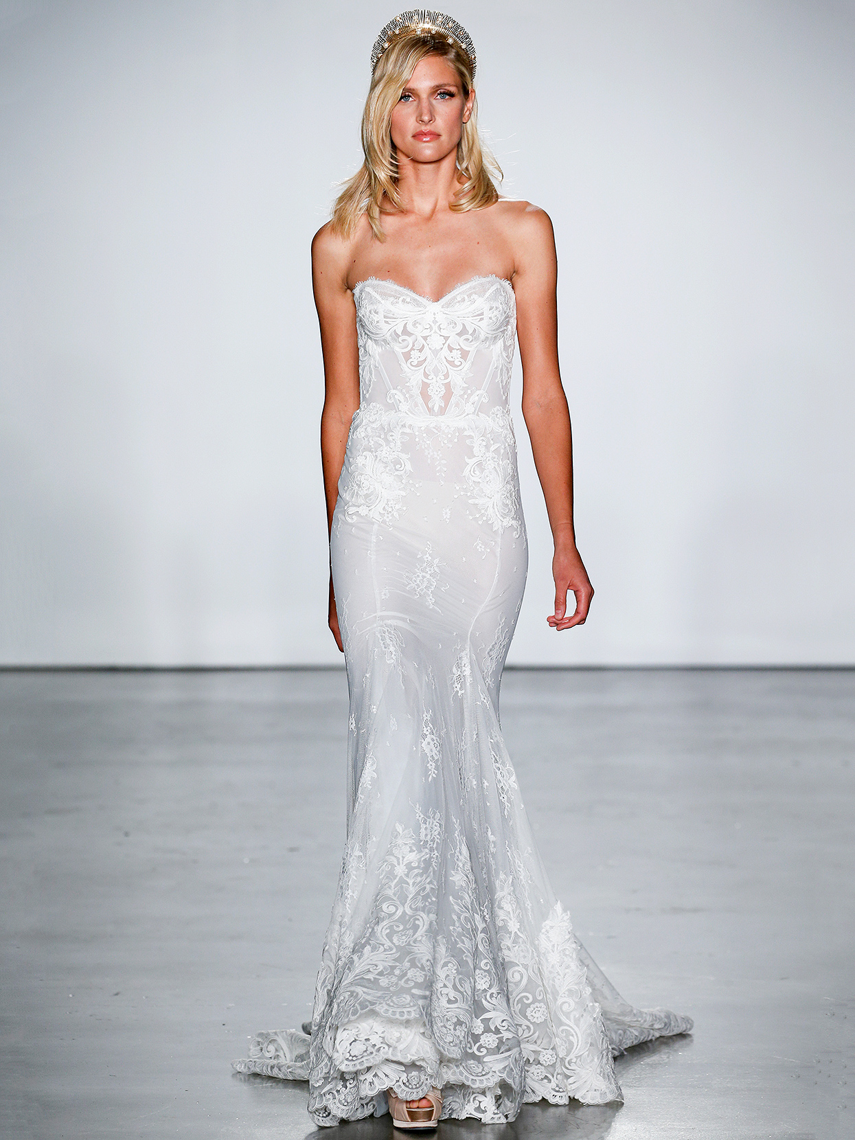 Inbal Dror sweetheart lace sheath wedding dress fall 2020