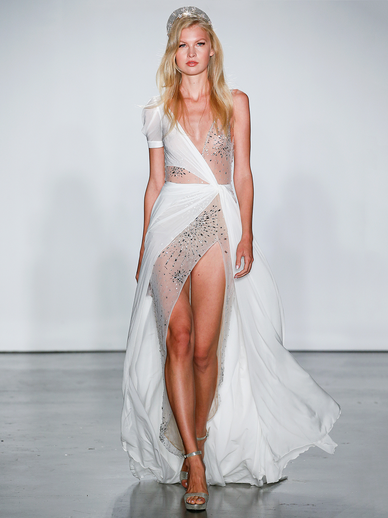 Inbal Dror asymmetrical layered with slit wedding dress fall 2020