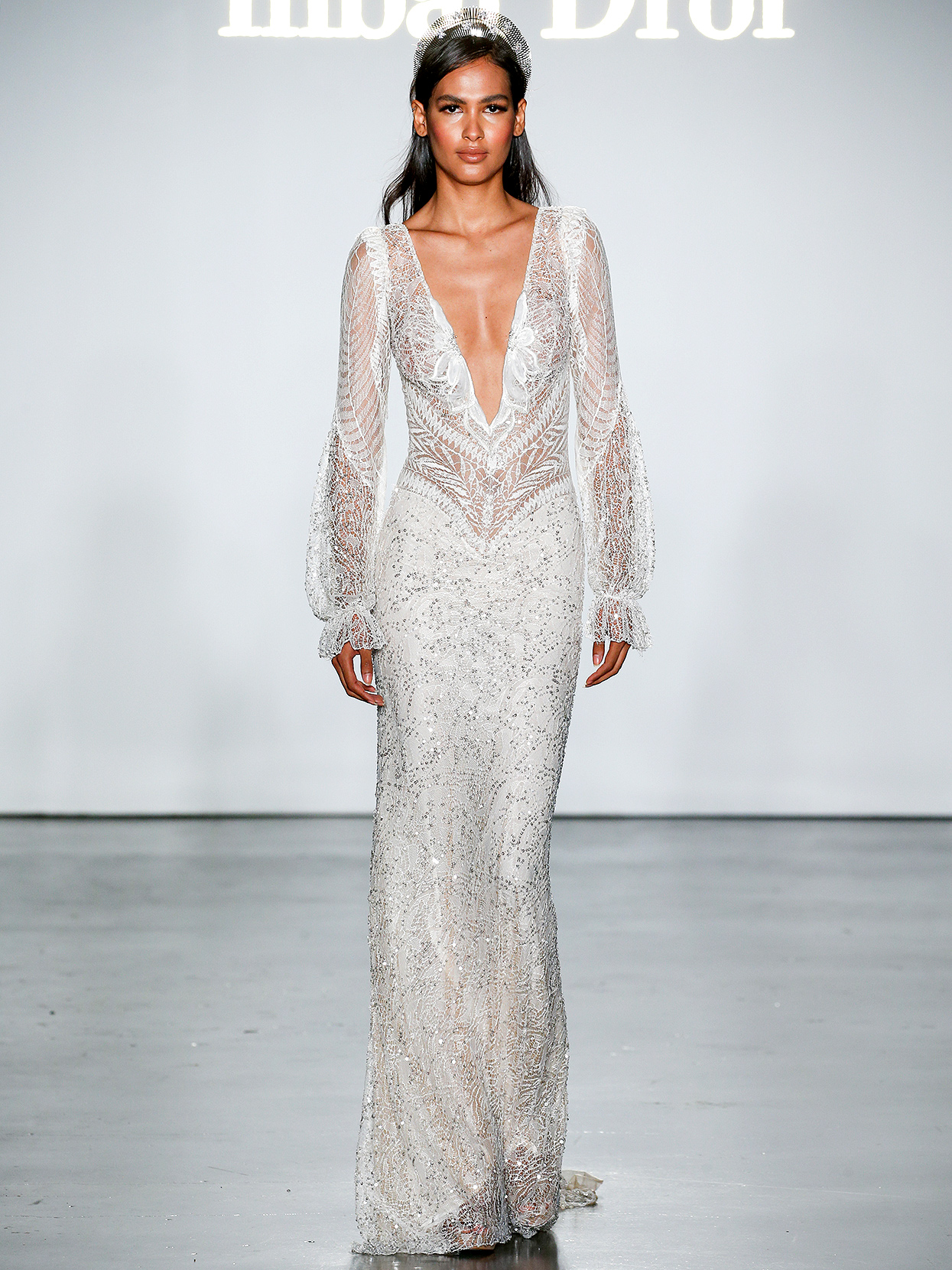 Inbal Dror long-sleeved embroidered sheath wedding dress fall 2020