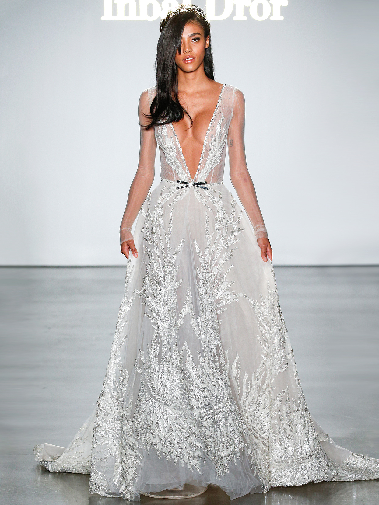 Inbal Dror layered plunging-neck wedding dress fall 2020