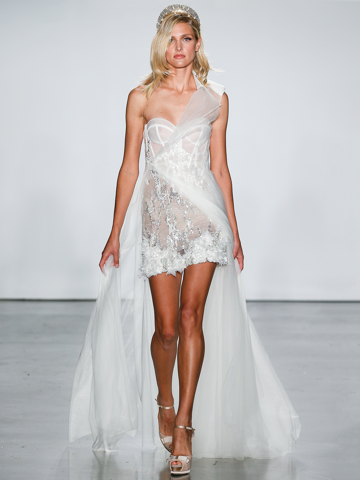 Inbal Dror short with asymmetrical overlay wedding dress fall 2020