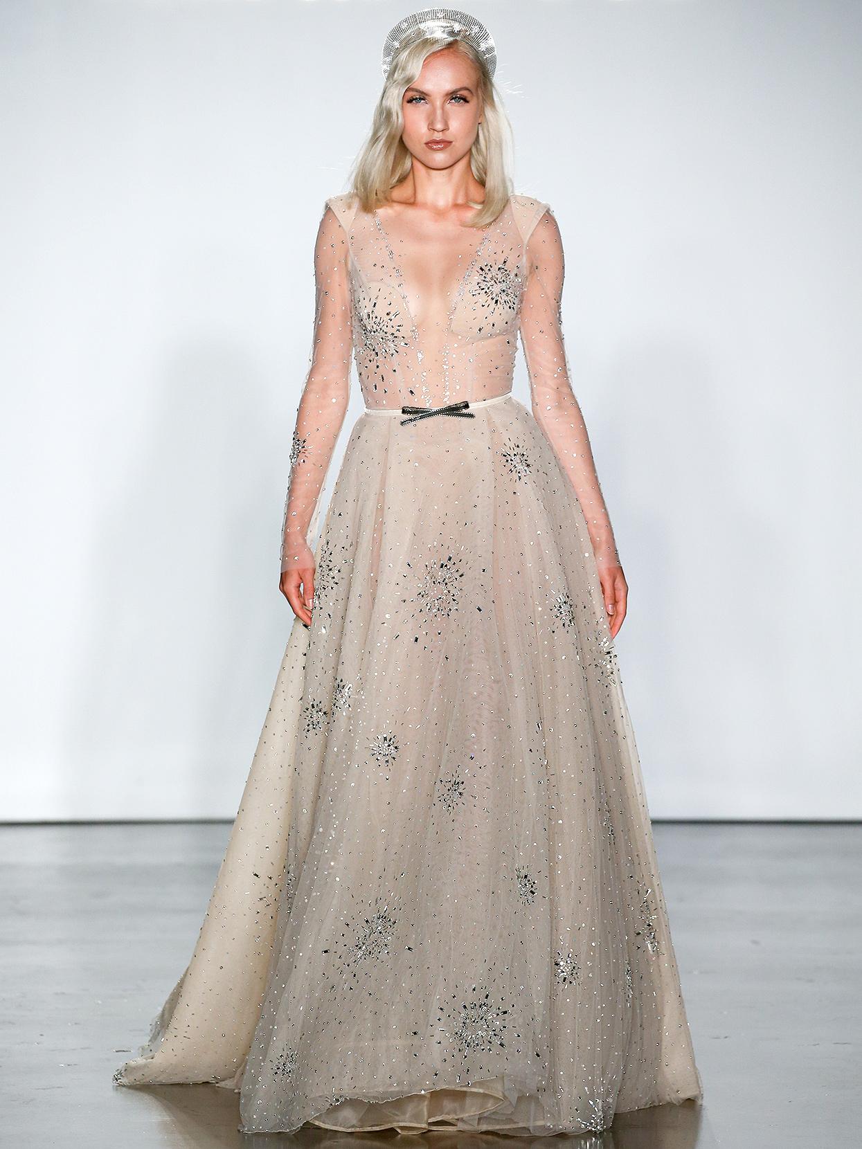 Inbal Dror embellished long-sleeve with bow wedding dress fall 2020