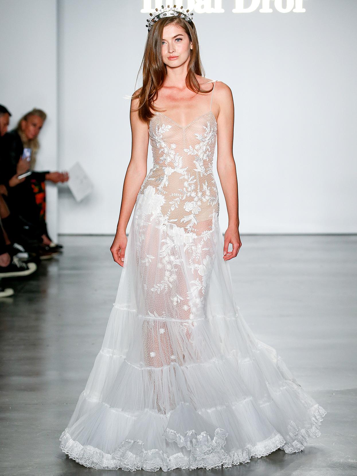 Inbal Dror embroidered sheer a-line wedding dress fall 2020