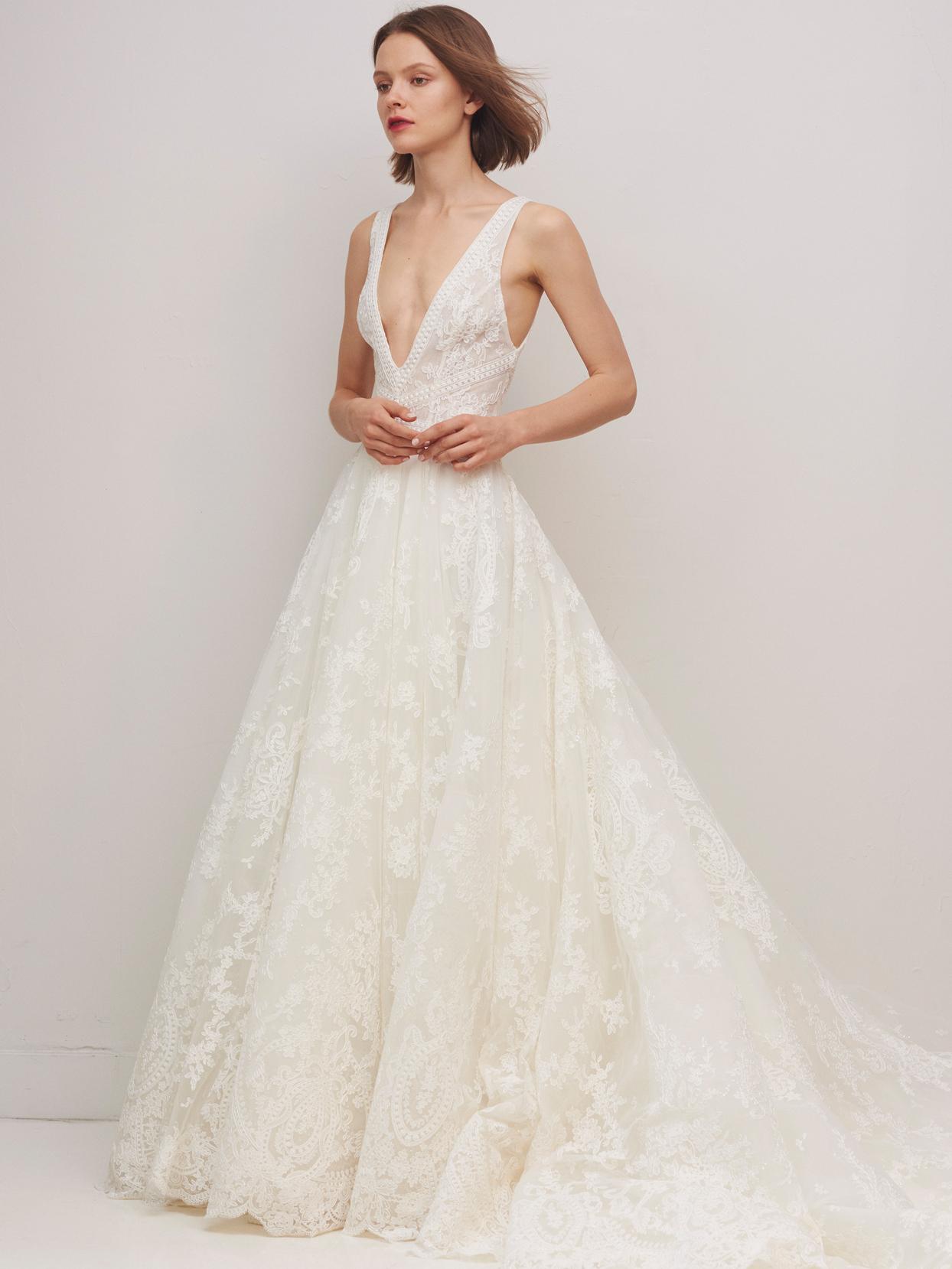 rivini by rita vinieris lace deep v-neck a-line wedding dress fall 2020