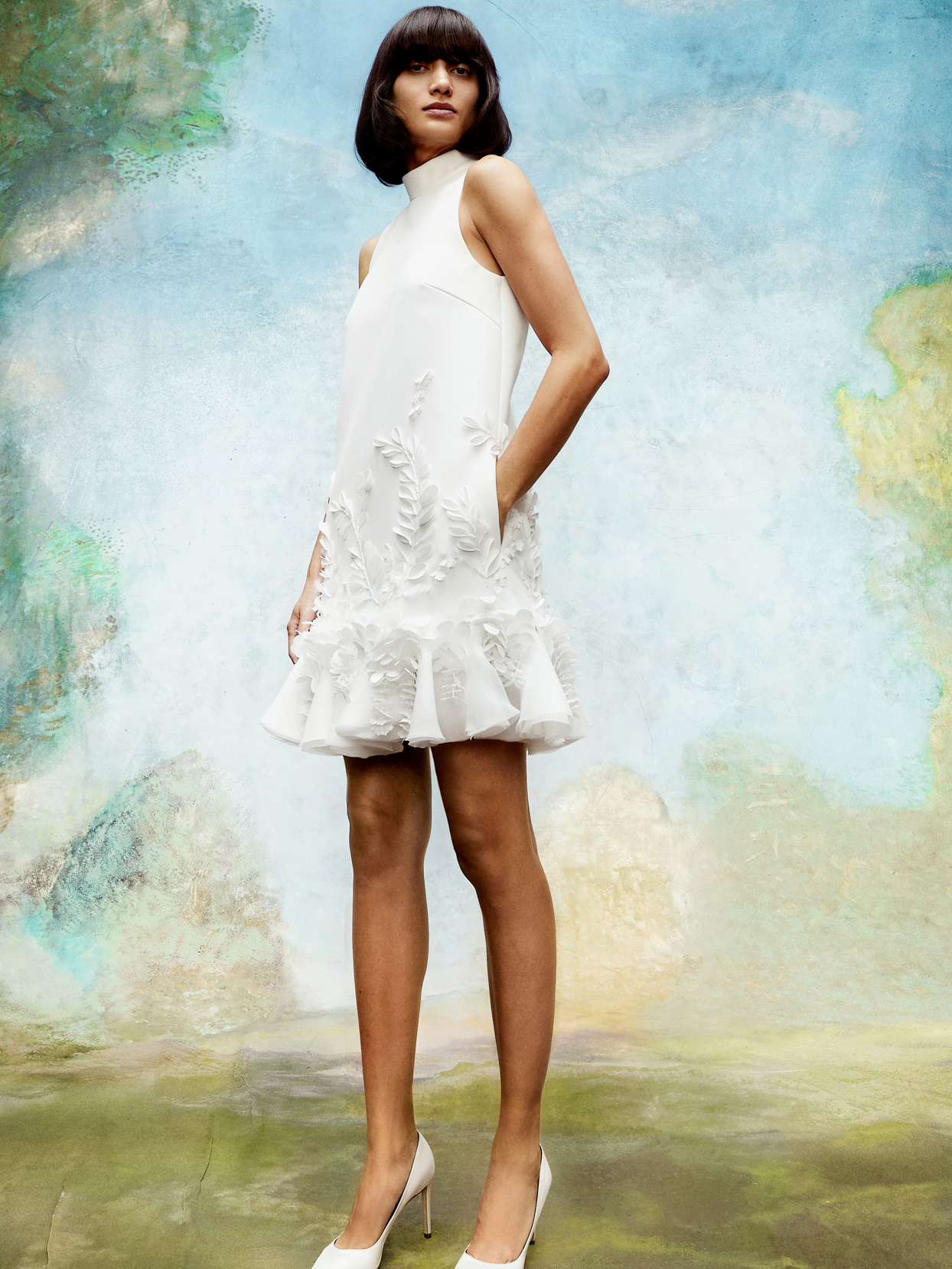 viktor and rolf high-neckline short wedding dress with floral applique fall 2020