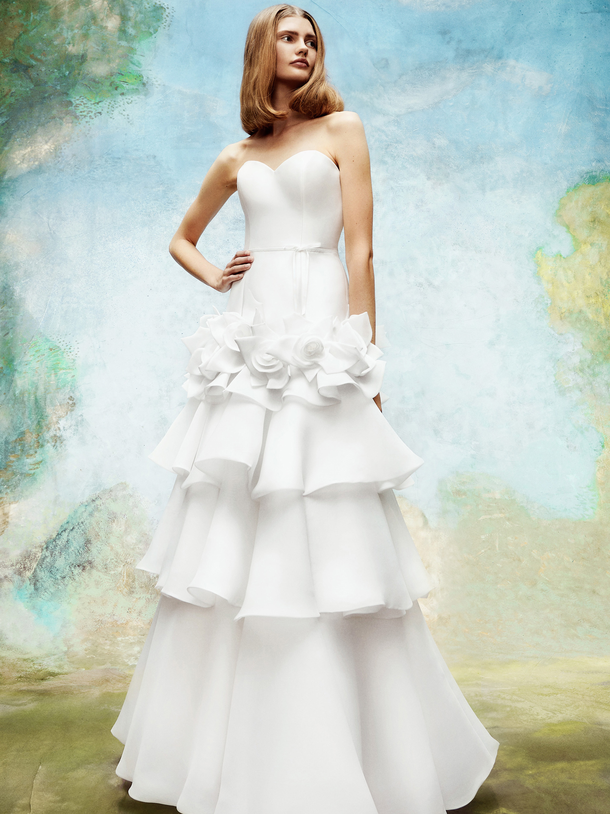 viktor and rolf strapless sweetheart neckline ruffled skirt wedding dress fall 2020