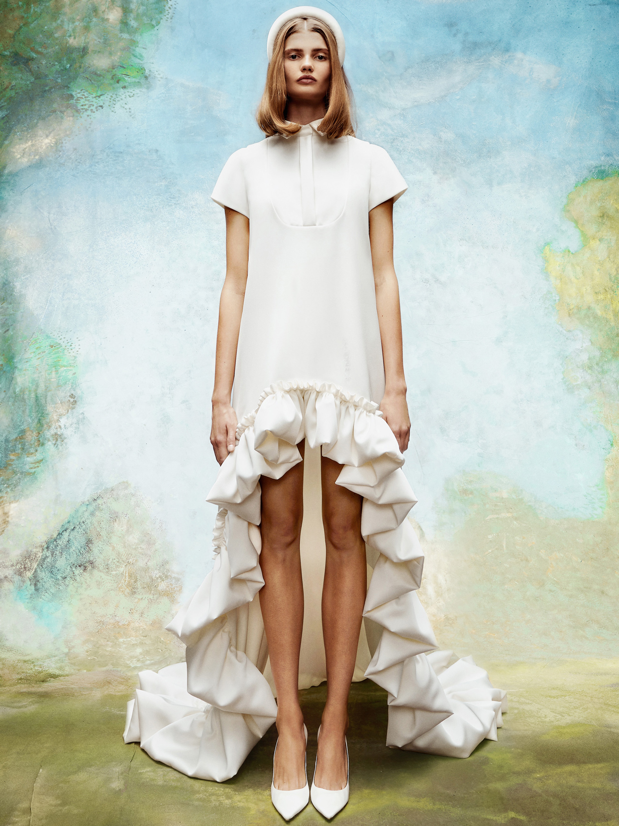 viktor and rolf short sleeve high-low wedding dress fall 2020