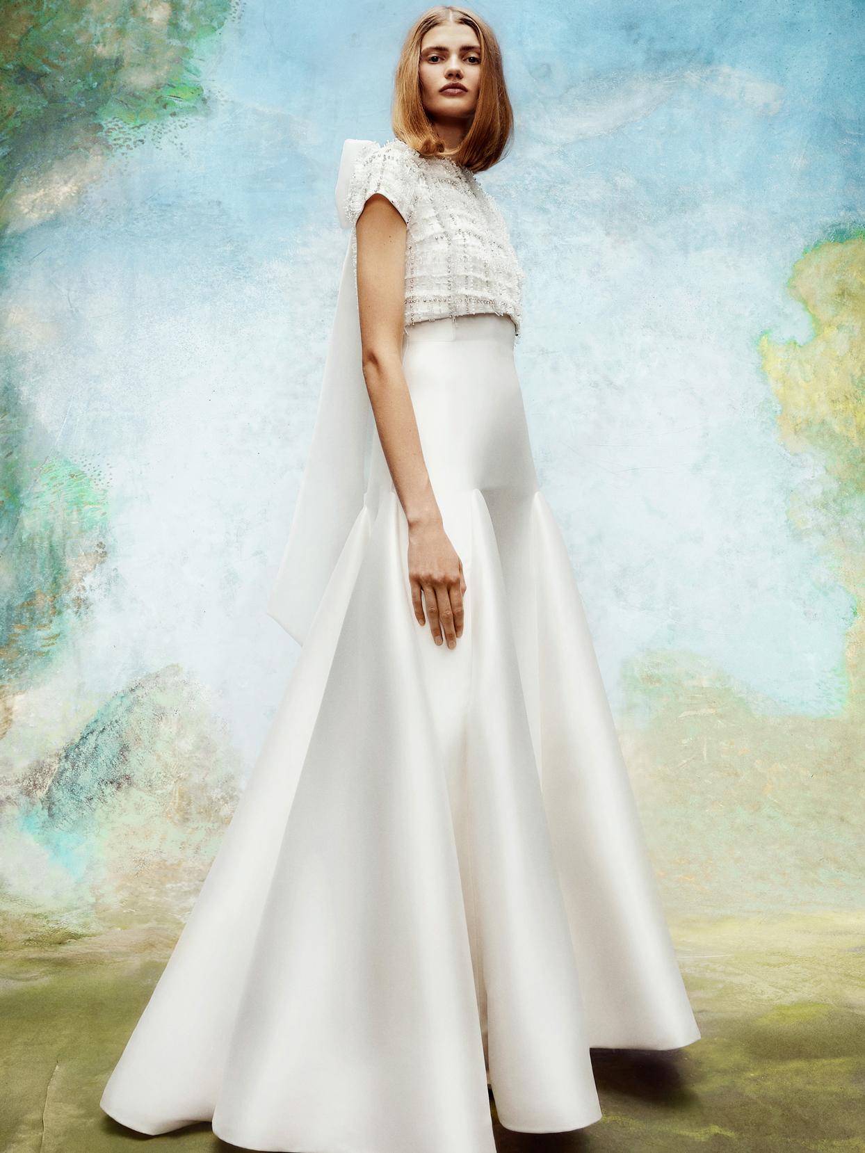 viktor and rolf short-sleeve beaded tweed bodice a-line wedding dress fall 2020