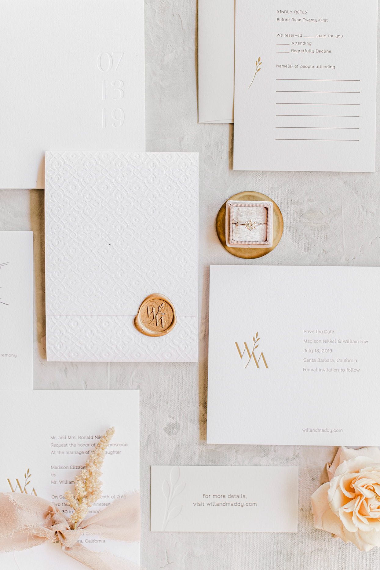maddie will wedding elegant rust and white invitations