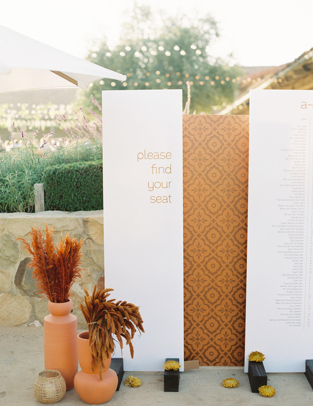 maddy will wedding seating chart rustic and white