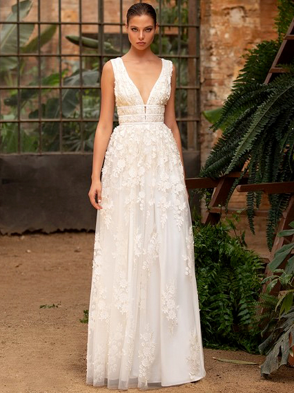 Zac Posen For White One 3D embroidered flowers tulle a-line deep v-neck wedding dress fall 2020