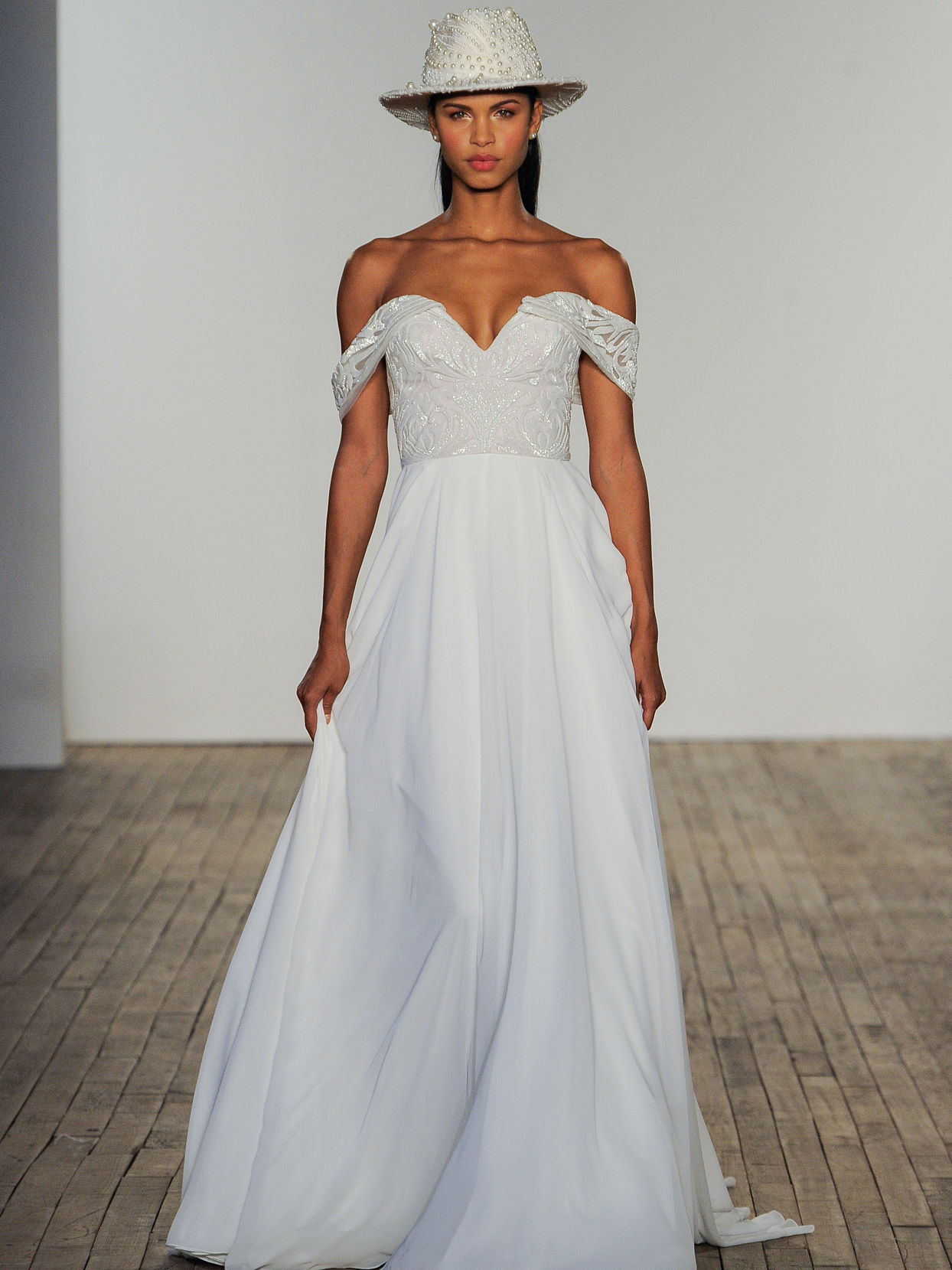 Hayley Paige off-the-shoulder chiffon a-line wedding dress fall 2020