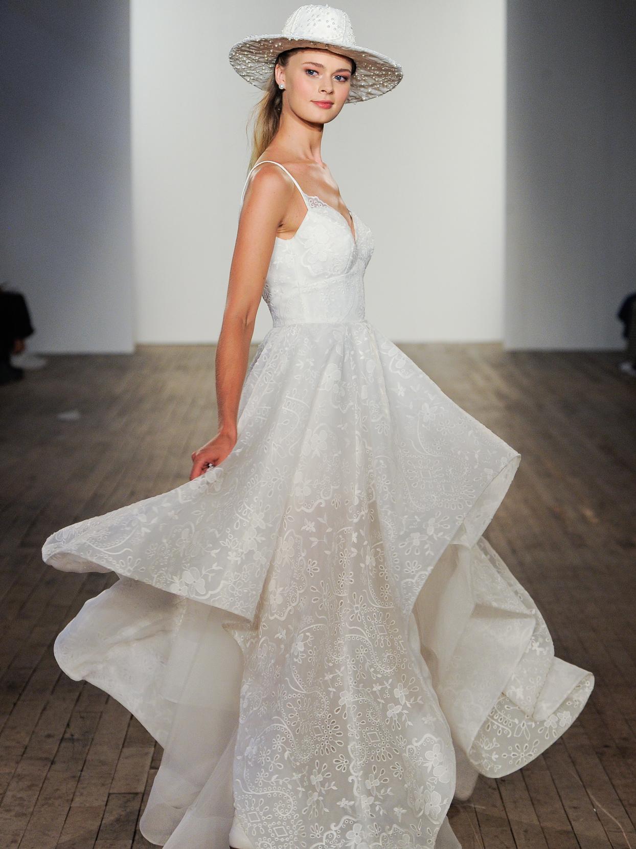 Hayley Paige spaghetti strap Eyelet organza two-piece wedding dress fall 2020