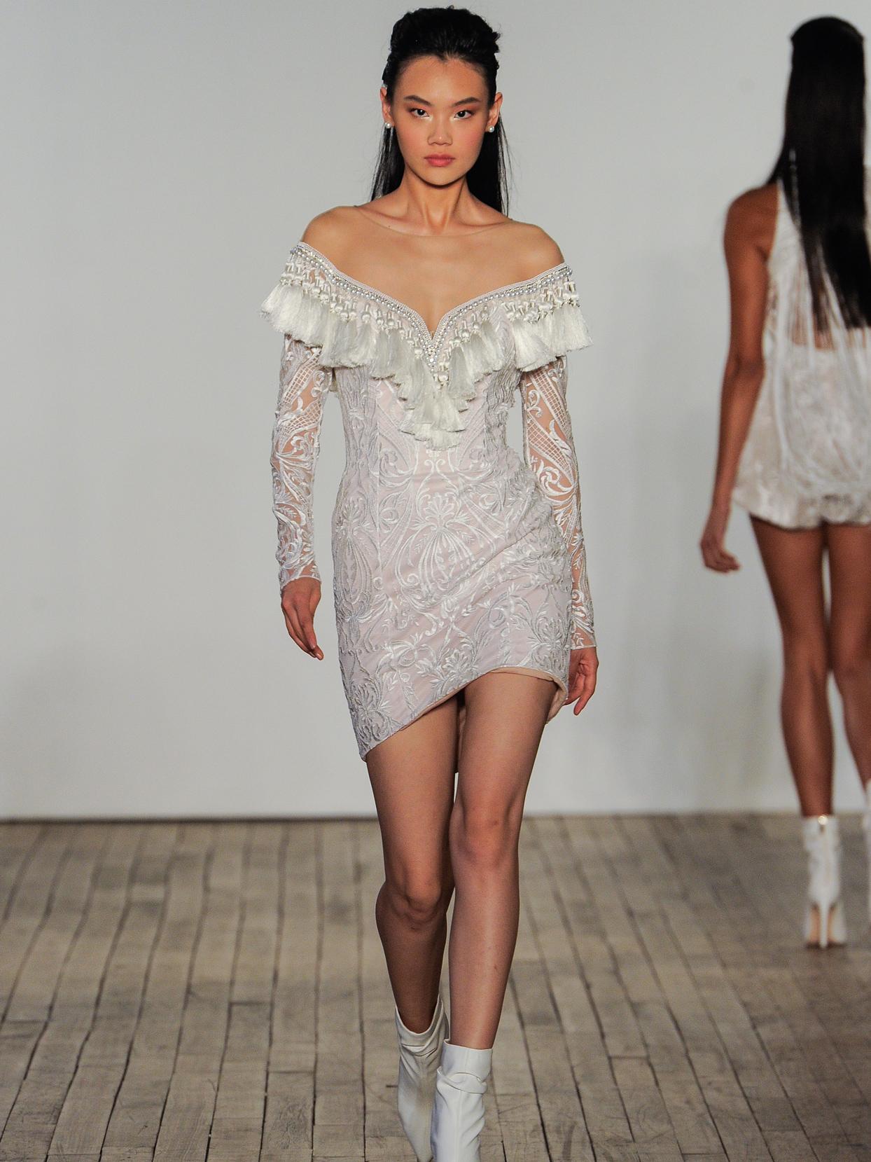 Hayley Paige lace long sleeve mini wedding dress fall 2020