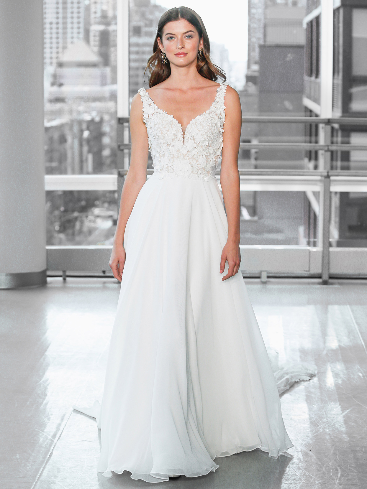 Justin Alexander Signature chiffon a-line 3d floral applique wedding dress fall 2020