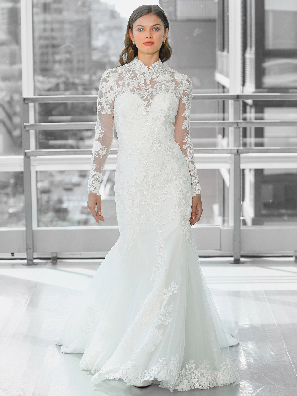 Justin Alexander Signature lace long sleeve illusion high neck mermaid wedding dress fall 2020