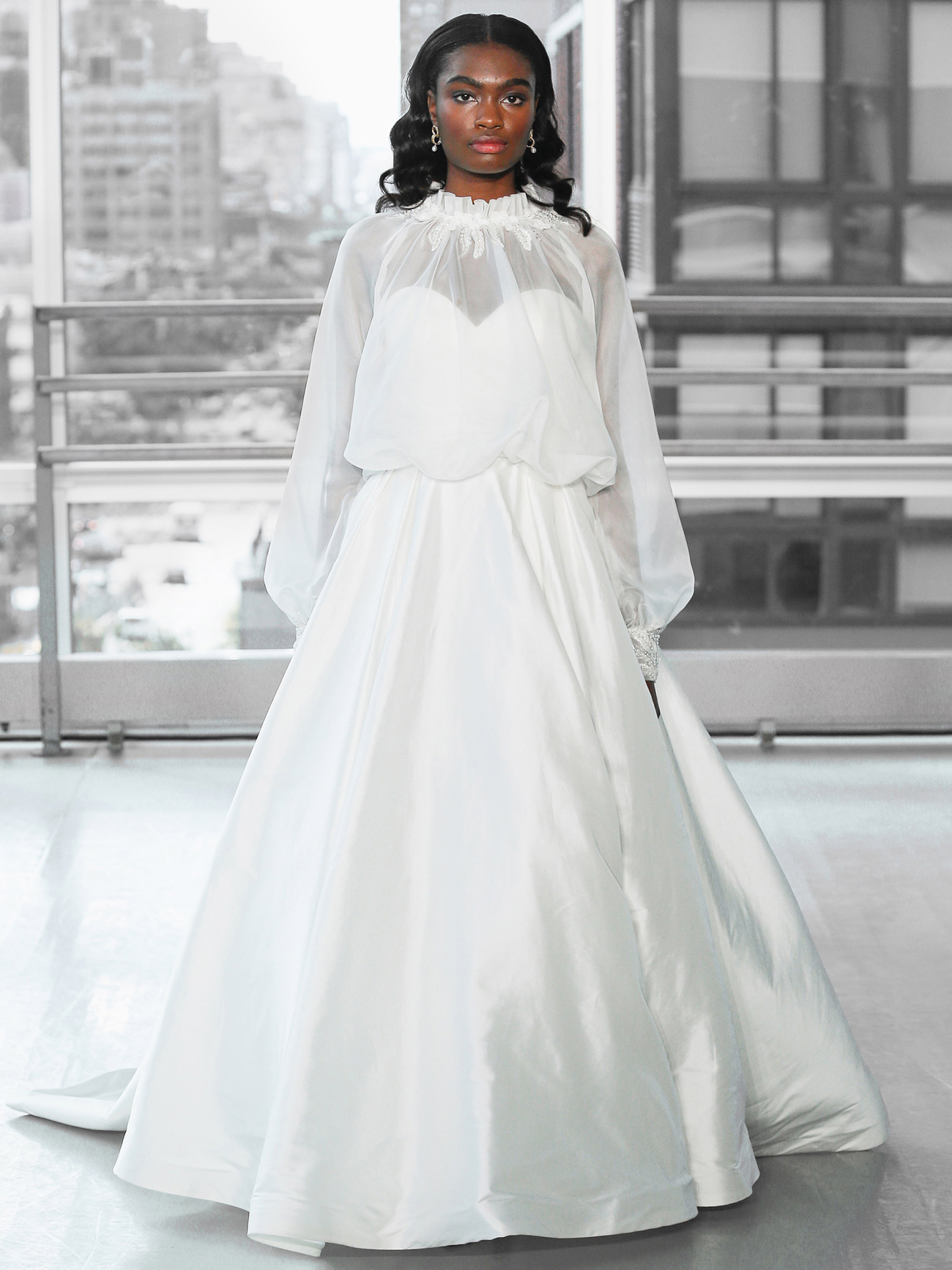 Justin Alexander Signature silk ball gown skirt organza high neck long sleeve jacket wedding dress fall 2020