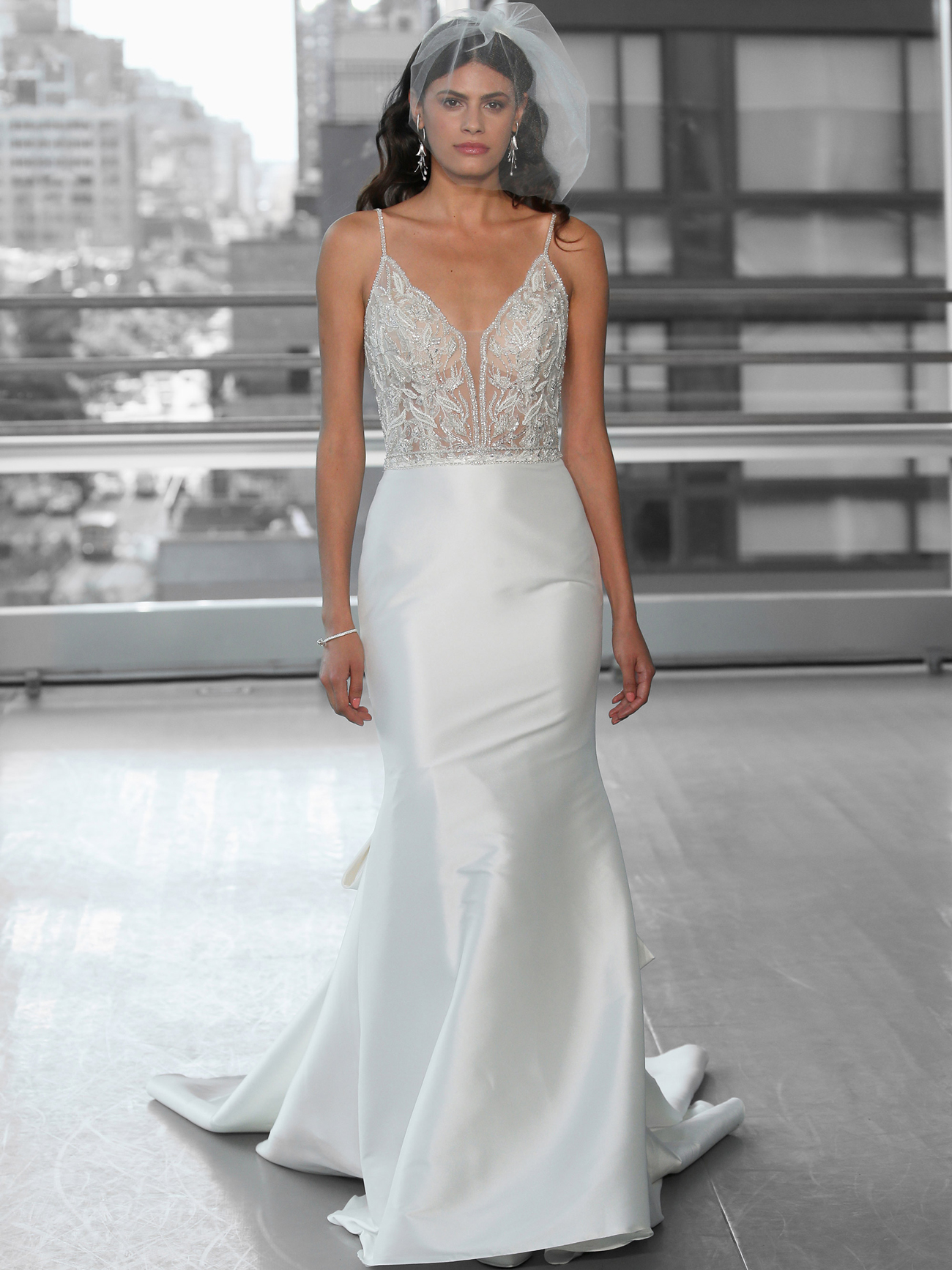 Justin Alexander Signature fit and flare beaded bodice thin strap wedding dress fall 2020