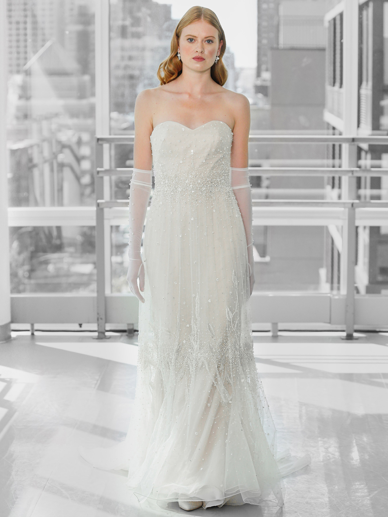 Justin Alexander Signature strapless a-line beaded wedding dress fall 2020