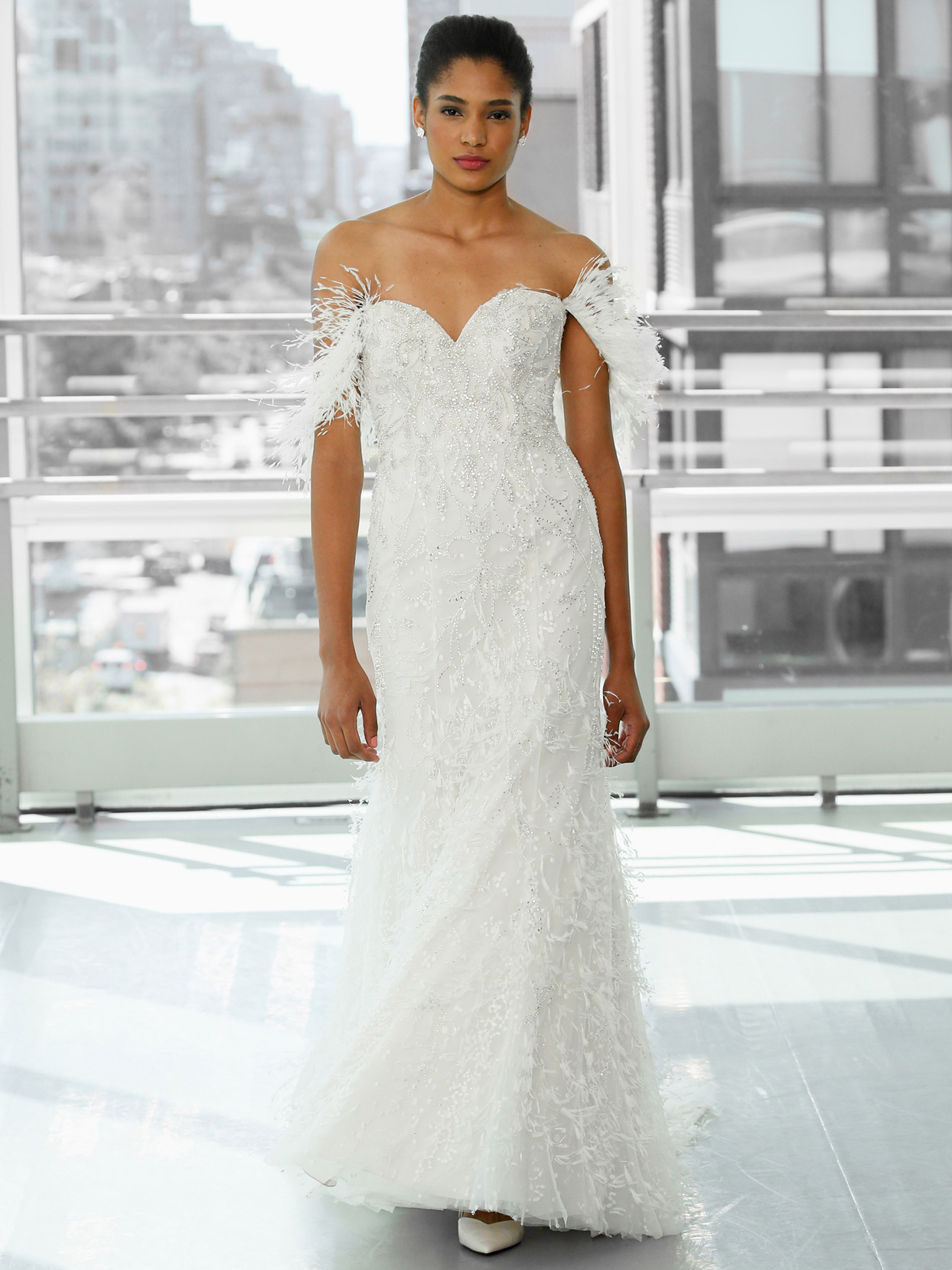 Justin Alexander Signature off-the-shoulder feather beaded a-line wedding dress fall 2020