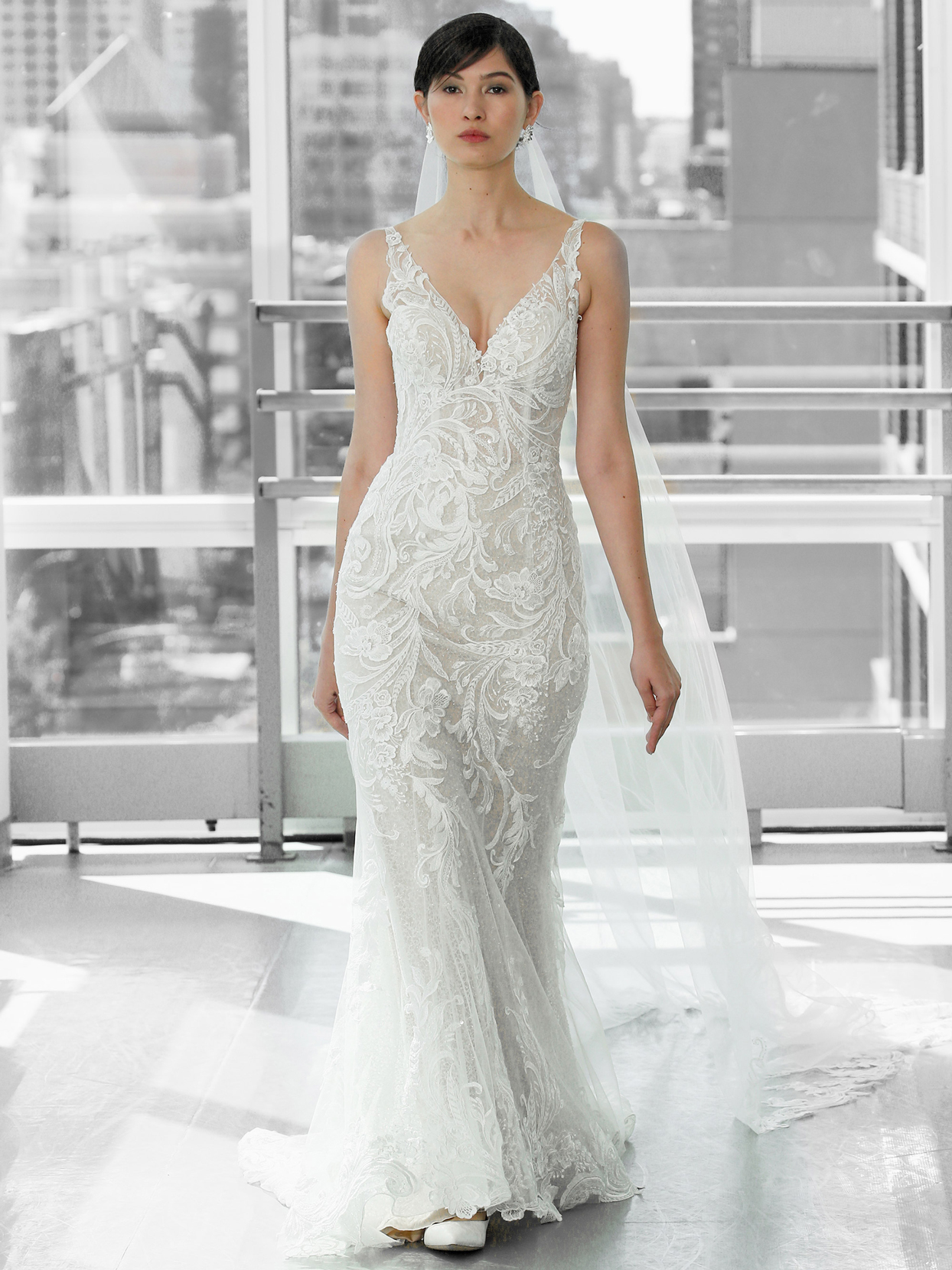 Justin Alexander Signature sequin lace illusion v-neck fit to flare wedding dress fall 2020