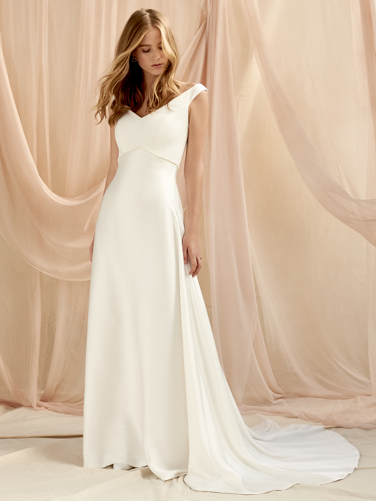 Savannah Miller wide strap sleeveless v-neck a-line wedding dress fall 2020