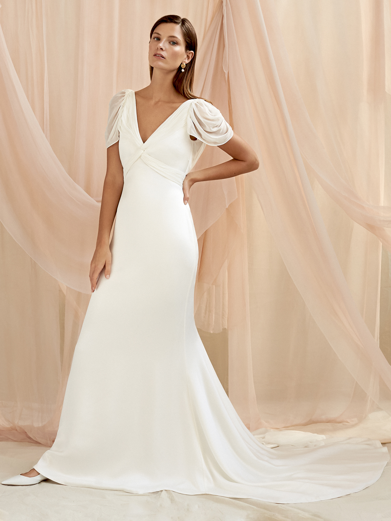 Savannah Miller sheer cap sleeve v-neck a-line wedding dress fall 2020