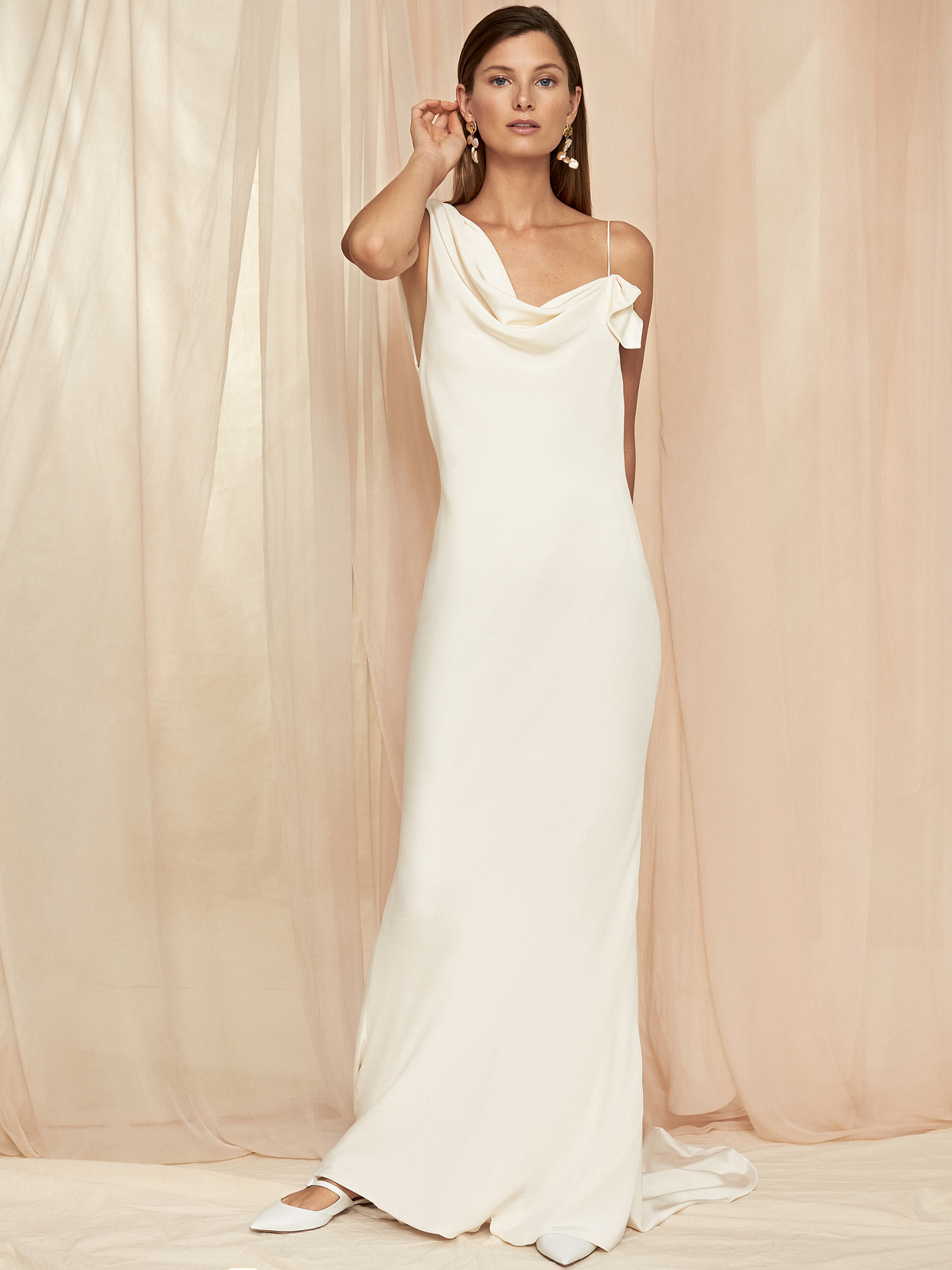 Savannah Miller cowl neck sheath wedding dress fall 2020