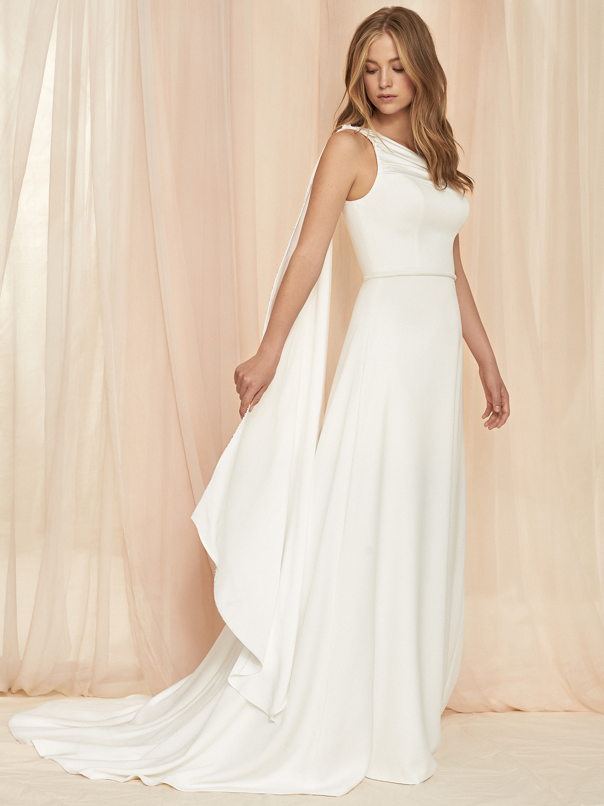 Savannah Miller high neck sleeveless cape a-line wedding dress fall 2020