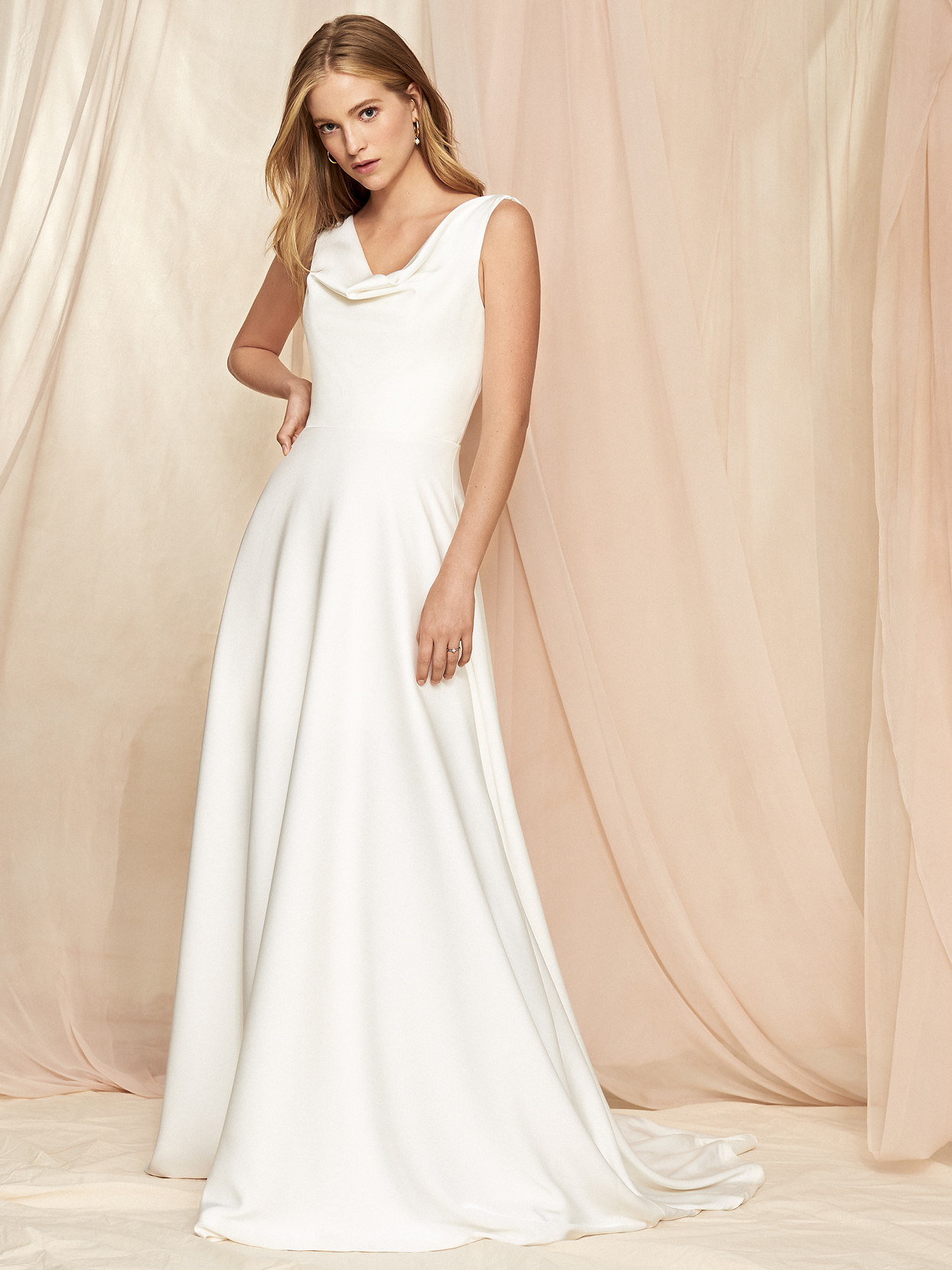 Savannah Miller cowl neck sleeveless wide strap a-line wedding dress fall 2020