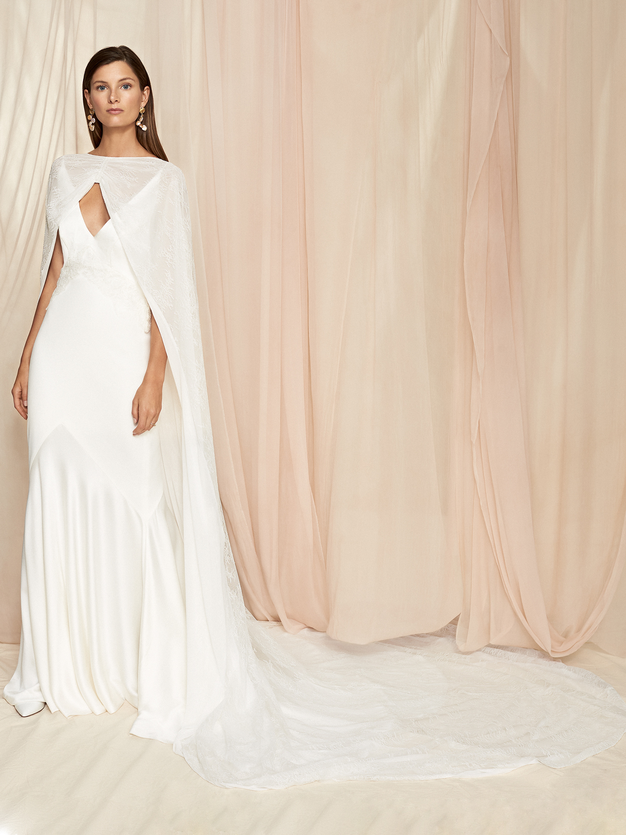 Savannah Miller sheer cape train v-neck sleeveless wedding dress fall 2020
