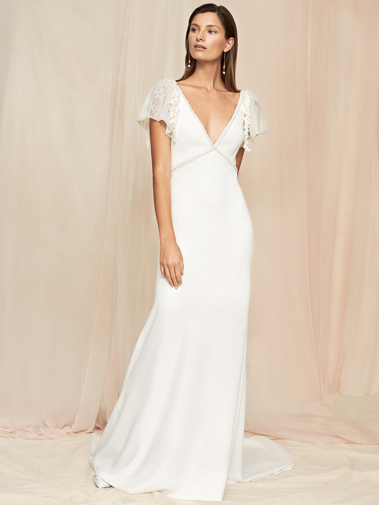 Savannah Miller short flutter sleeve v-neck sheath wedding dress fall 2020