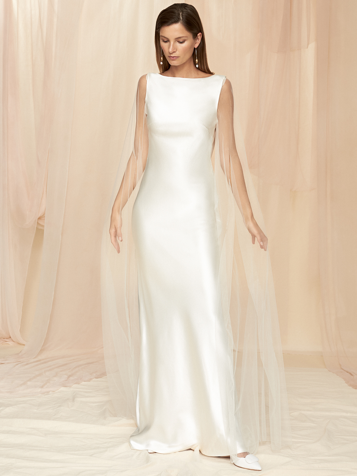 Savannah Miller high neck sleeveless sheath wedding dress fall 2020