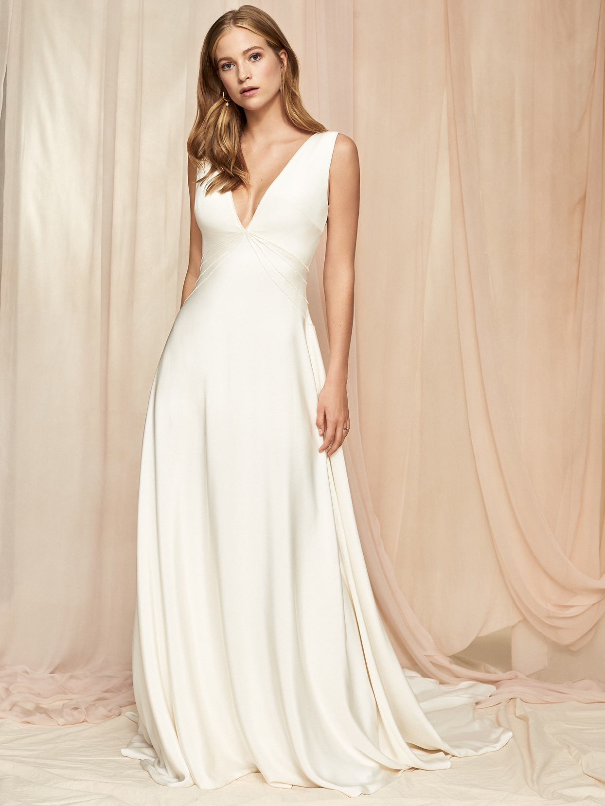 Savannah Miller wide strap sleeveless deep v-neck a-line wedding dress fall 2020